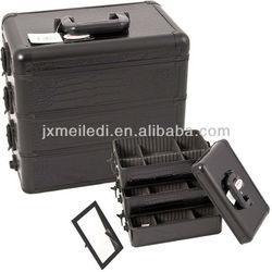 MLD-CC181 Professional Superior Quality Aluminium Black Leather Cosmetics Makeup Case Removable