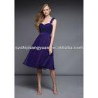 SJ1322 one-shoulder sweetheart knee length ruffle chiffon royal blue Bridesmaid dress