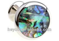HEYCO round silver jewelry shell conch cowry mop swank cuff button links cufflinks value