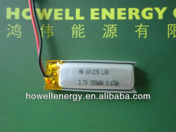 3.7v 180mah lithium polymer rechargeable battery cell for mp3
