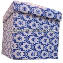 Oriental Blue and White Folding Storage Ottoman