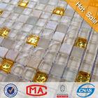 LJO JTC-1305 Bathroom Wall Waterproof Beige Lava Stone Tile Mix Golden and Crystal Glass Mosaic White Shiny Floor Tiles