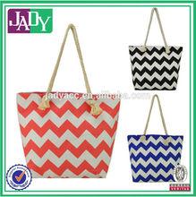 Fashion chevron printed bag lady canvas tote bag