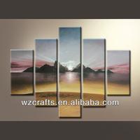 Wonderful Sunrise Scenery Oil Painting Canvas Group Painting