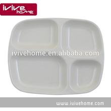 2014 new design square white melamine divided tray 24 x 26 cm