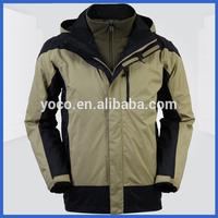 Mens winter outdoor sportswear 3 in 1 ski jacket with fleece inner