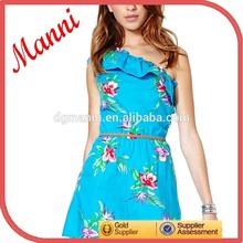 2014 Manni New Designed Women One Shoulder Casual Summer Skater Dress