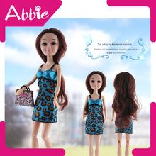 juguetes para los niños pequeños de bebé de plástico abbie muñecas muñeca en vestido y los zapatos con traje de bolsa