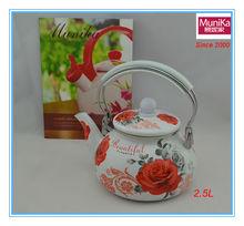 Enamel Kettle 2.5L by Decor/2014 New Enamel Decals Teapot/White Enamel Tea Kettle Floral Design