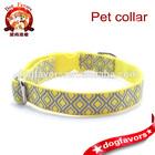 Small Dog Collar Adjustable Grey and Yellow Lattice Design #S12