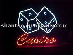 Casino dice neon light