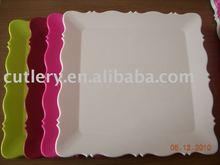 disposable modern design plastic square color plates
