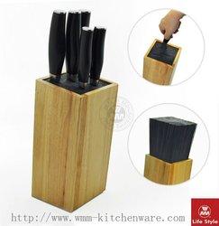 5 Pcs damascus knives with block wazirabad damascus knife