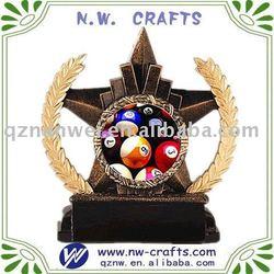 Star shape colorful resin billiards trophy manufacturer