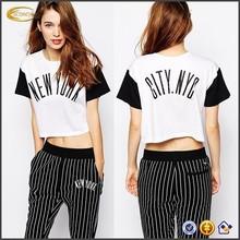 2015 Wholesale Women Summer Short Sleeve Logo Print Custom Ladies Crop Top