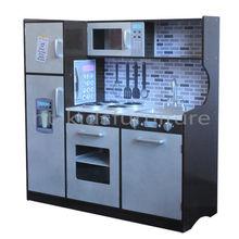 HT-DK009 107x39.5x(H)109cm Dark Brown MDF Kitchen Play Set For Children Above 3 Years, Wooden Toy Kitchen