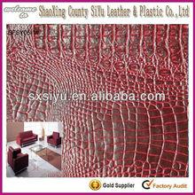 2014 modular modern pvc crocodile artificial leather for sofa