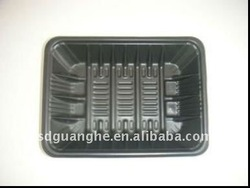 black disposable plastic food tray