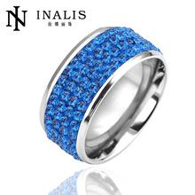 Blue CZ stone 18K White Gold Plated stainless steel ring LKN18KRGPR086