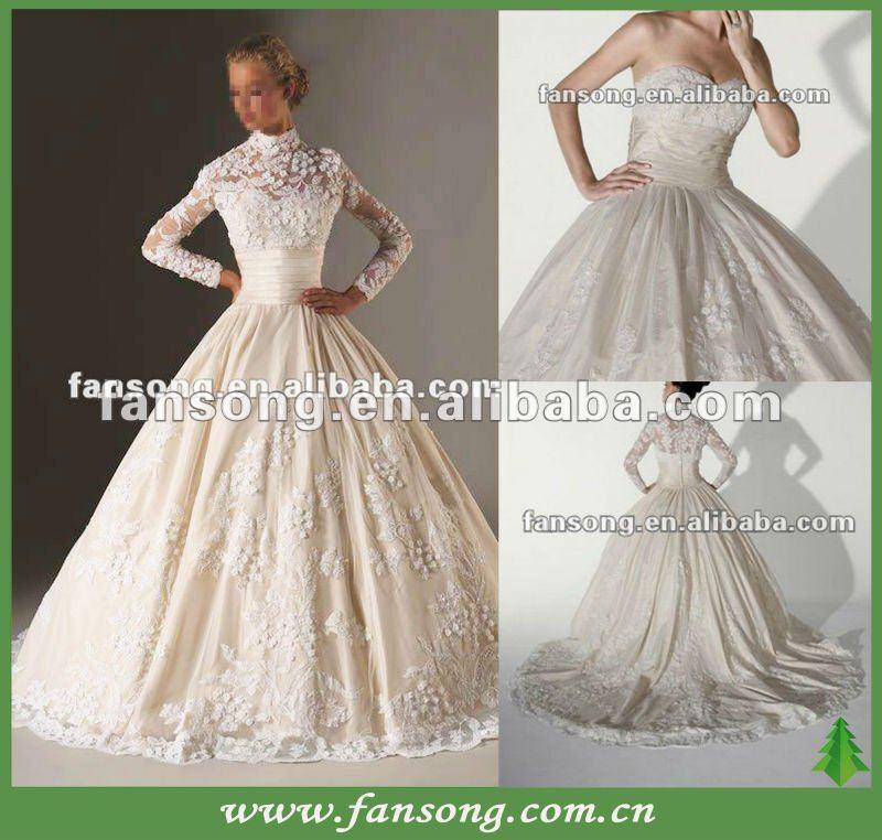 gorgeous manga longa removível jaqueta bola vestido de casamento vestido de renda