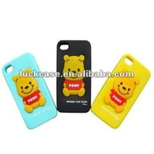 Lovely slicon bear case cover for apple iphone 4,customized/paypal accpeted