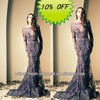 Free Shipping Hot Sale Beaded Black Lace Elegant Long Sleeve Evening Dresses 2014