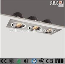 3 heads COB 21W LED recessed downlight / High luminous LED light R3B0098