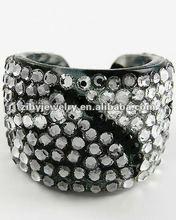 Leopard Print Lucite / Clear & Black Diamond Acrylic Studs / Cuff Ring / Handmade