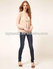 Moda de la colmena de la gasa de la blusa de diseño con solapa