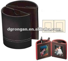 brown leather pen holder with photo frame A02-063