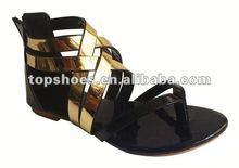 Fashion shinning lady flat sandals