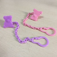 Eco-friendly Yellow Clear Pacifier Clip Animal Head,Funny Strap Holder Clip Dummy Soother Chain Holder