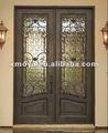 exterior de hierro forjado puerta de entrada de vidrio aislante deinserción