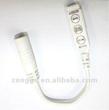 White 12V 3 keys Mini Controller Dimmer for 3528 5050 RGB LED Strip Light