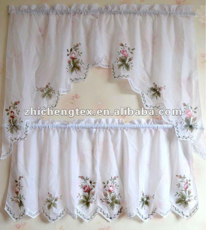 Cortina de la cocina bordados con motivos florales cortina - Ver cortinas para cocina ...