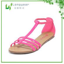 Pink No Heel Girl Flat Heel Sandals