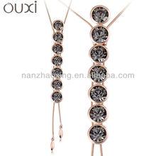 OUXI Rhodium Plated Austrian Crystals Rhinestone statement Metal Chain Necklace