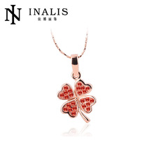 Red crystal Four Leaf Clover gold jewellry accessorries LKN18KRGPN224