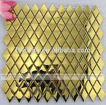 MI36 Golden rhombus mirror metal mosaic tiles for interior wall background,kitchen or bathroom decoration