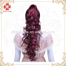 Stylish Long and lovely claw clip ponytail, wholesale price for burgundy synthetic ponytail
