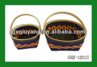 Cheap Woven Wooden Flower Basket with Handle In Two Sizes