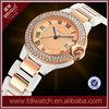Japan quartz movement gold band shinny crystal edge fashion lady watch W4348