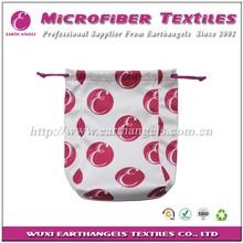 logo printed microfibe soft pouch,multi-purpose drawstring bag