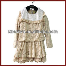 newest charming lace and pearl decoration princess style girl dress