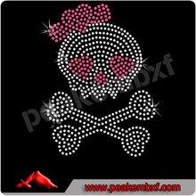 Beautiful hotfix clothing rhinestone designs skull