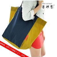 large capacity color block folding waterproof eco-friendly foldable shopping bag