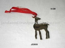 Christmas tree ornaments deer made in brass with nickel finish