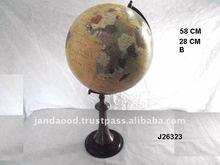 world globe on metal stand