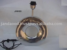 Metal Table Lamp with electric wiring made in cast Aluminium and mirror polish