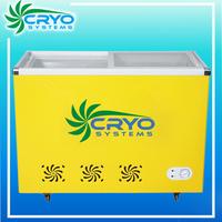 China sale price double hard glass door lid display chest refrigerator fridge ice cream freezer